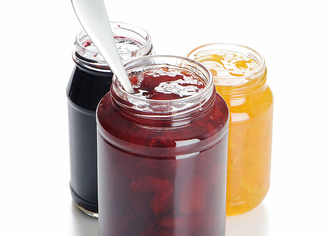 Jam jars are food contact materials made of glass
