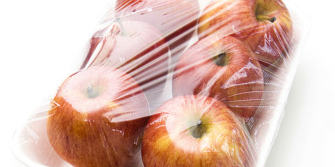 Plastic wrapped apples