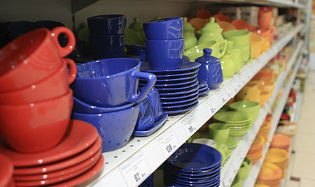 Ceramic products on the shelf