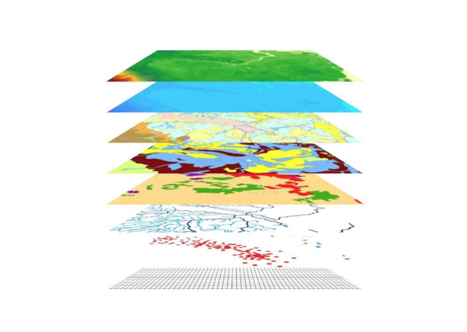 Layer structure of spatial data: different data are mapped and combined by their spatial arrangement.